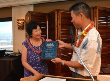 "Elizabeth ""Libby"" Young, a professor at Windward Community College, was awarded the Lifetime Achievement award at the Hawaii Publishers Association luncheon today. She was recognized for her advancement of journalism and education in Hawaii and for her contributions to the community."