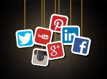 Main social media brands - Illustration including Facebook, Twitter, Pinterest, Instagram, LinkedIn, Google Plus, YouTube