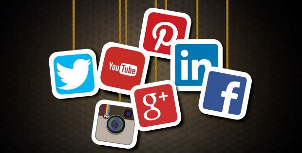 Main social media brands - Illustration including Facebook, Twitter, Pinterest, Instagram, LinkedIn, Google Plus, YouTube